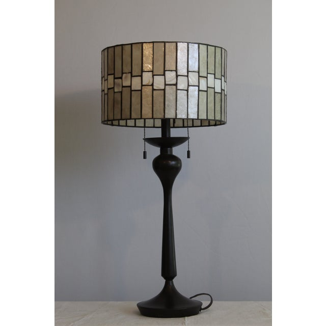 Contemporary Mid Century Enameled Bronze Base With Geometric Art Deco Mica Shade For Sale - Image 3 of 8