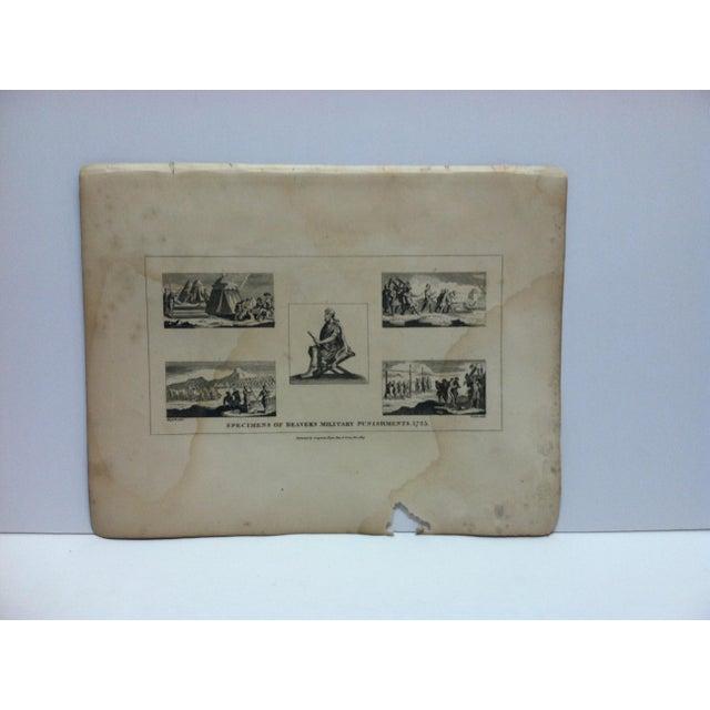 """Antique Rare Original Engraving, """"Specimens of Beaver's Military Punishments - 1725"""" by John Hogarth, circa 1840 For Sale - Image 4 of 4"""