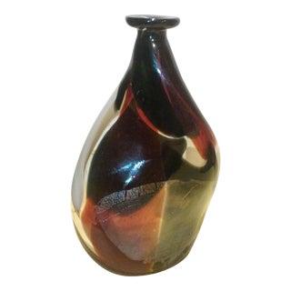 Black & Orange Art Glass Bottle Vase