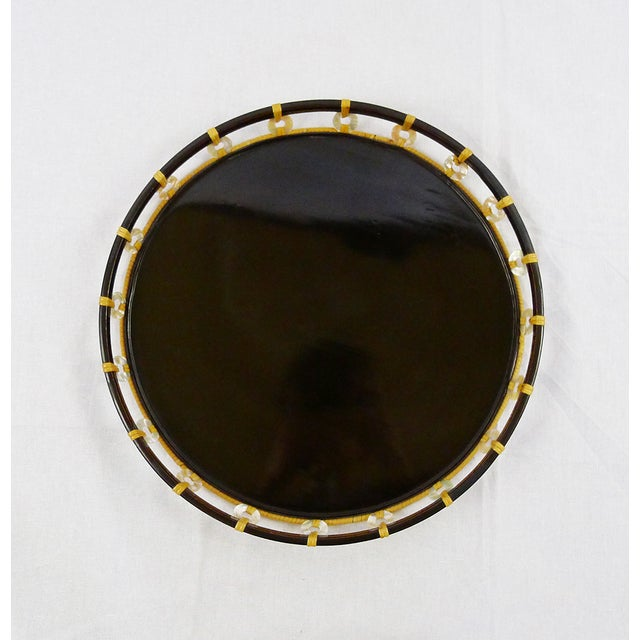 Vintage Black Lacquer Pearl & Bamboo Tray - Image 3 of 4