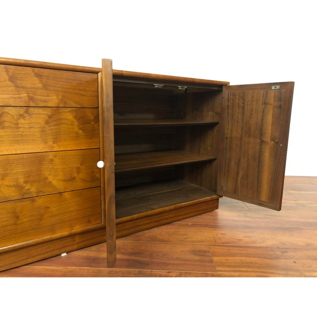 Drexel Declaration Walnut Sideboard With Cane Accents For Sale - Image 9 of 12