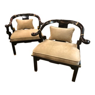 Late 20th Century Vintage Black Lacquered Asian Style Club/Lounge Chairs- a Pair For Sale
