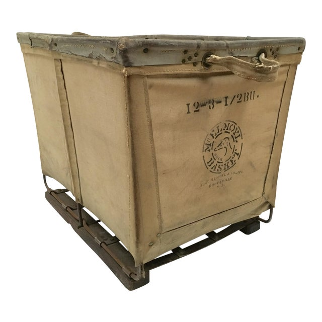 Vintage McElmoyl Industrial Canvas Laundry Basket For Sale