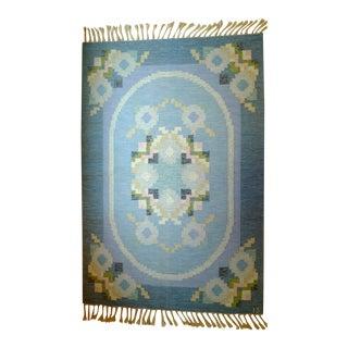 Vintage Floral Patterned Rölakan Rug by Ingegerd Silow - 4′6″ × 6′8″ For Sale