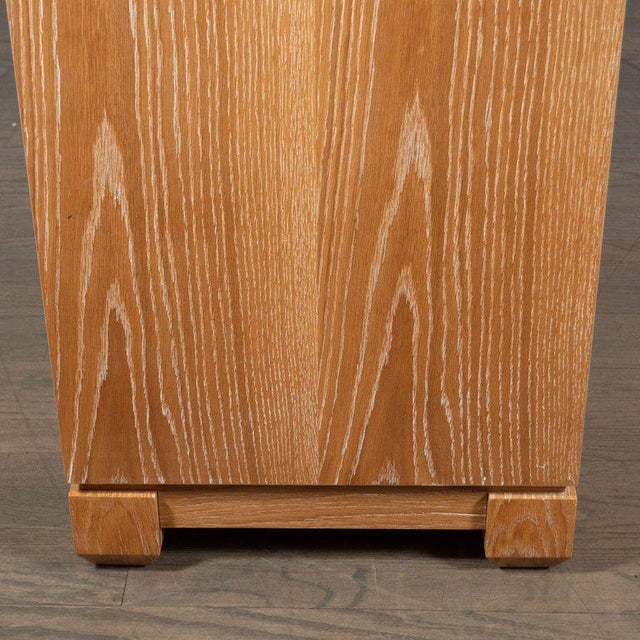 Brown Modernist Bleached Cerused Oak and Grass Cloth Sideboard with Polished Nickel Pulls For Sale - Image 8 of 10