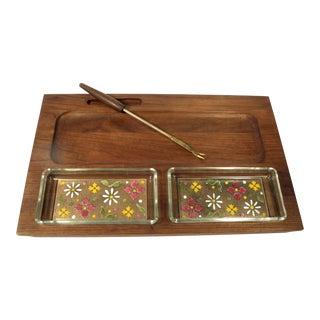 Mid-Century Teak & Tile Serving Tray