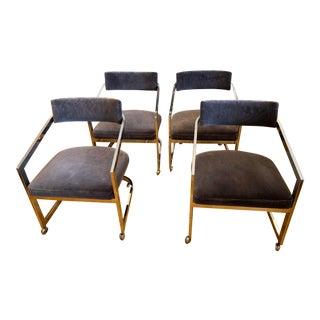 1970s Velvet & Chrome Dining Chairs- Set of 4 For Sale