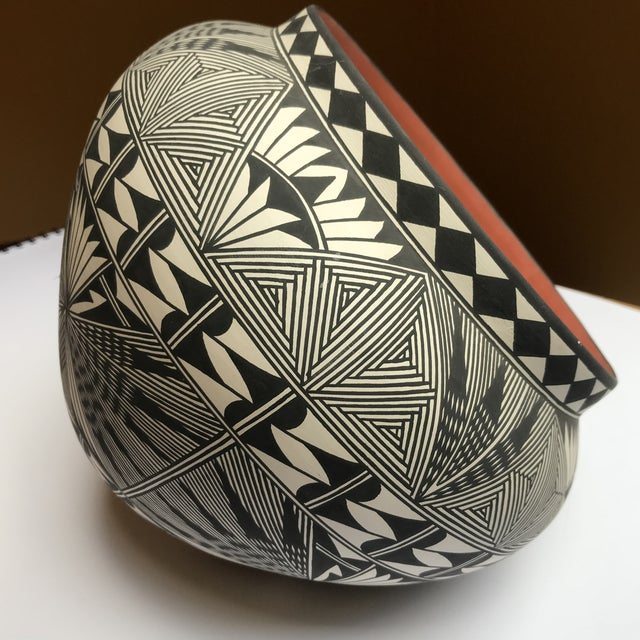 Acoma Pueblo Pottery Polychrome Bowl Signed Chino For Sale - Image 4 of 13