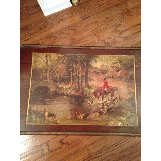 Vintage Hunting Scene Folding Tray Table For Sale - Image 5 of 8