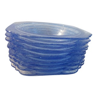Americana Vintage Virginia Glass Bowls, Dishes, Madrid Recollection Pattern Blue - Set of 8 For Sale