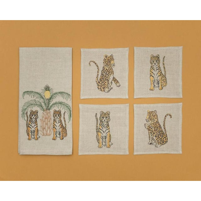 French 2010s French Ecru Linen Tigers With Pineapple Palm Tree Tea Towel For Sale - Image 3 of 6