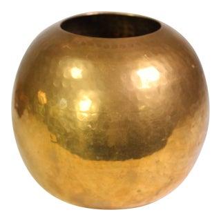 Mid-Century Round Hammered Brass Vase For Sale
