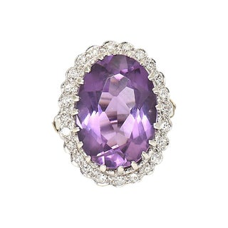 Amethyst & Diamond Cocktail Ring For Sale