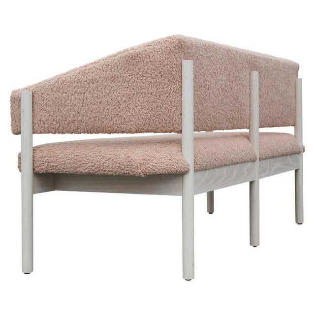 Wood Custom Postmodern Angular Pink Shearling Style White Oak Loveseat / Bench/ Sofa For Sale - Image 7 of 10