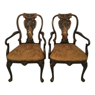 1940s Antique Chinoiserie Arm Chairs- A Pair For Sale