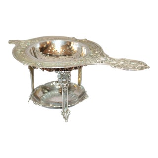 Late 19th Century German Silver Tea Strainer on Stand For Sale