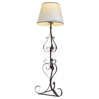 Spanish Pierre Lottier 1960's Wrought Iron Tall Floor Lamp With One Light and Linen Shade For Sale