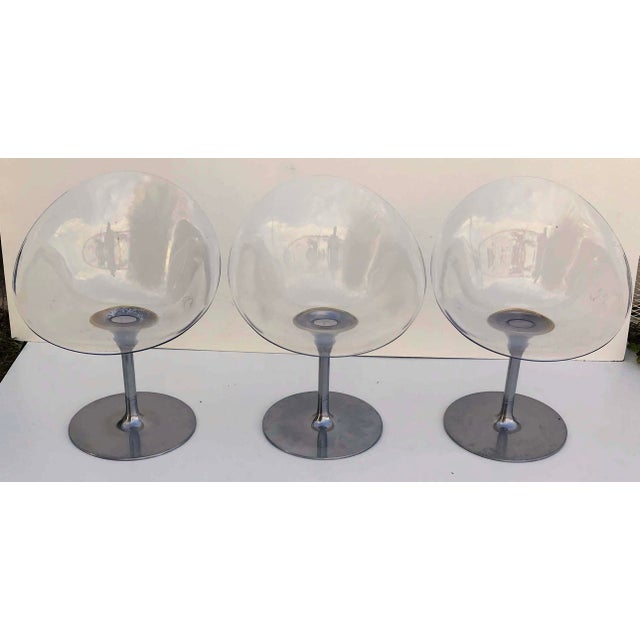 Metal Philippe Starck for Kartell Clear Lucite Eros Swivel Italian Chairs- Set of 3 For Sale - Image 7 of 7