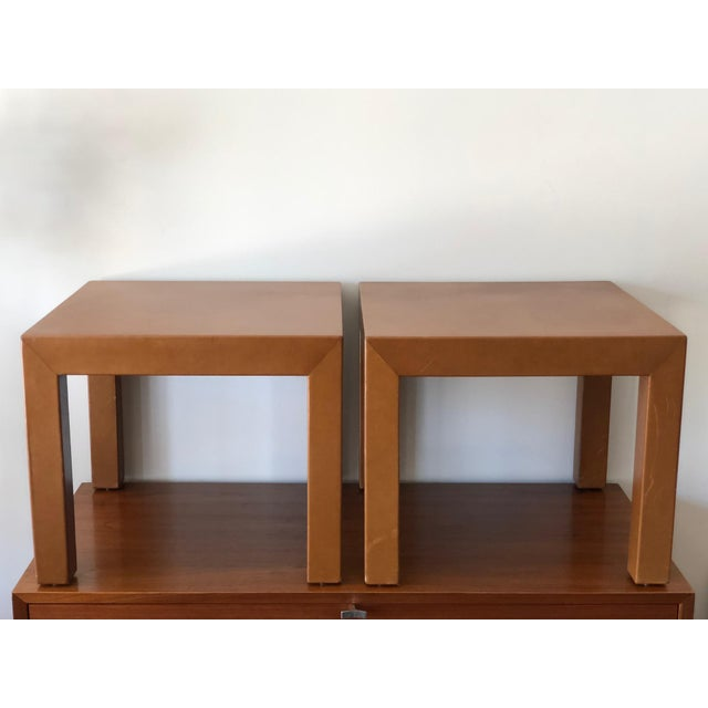 Brown A Pair of Classic Leather Occasional Tables For Sale - Image 8 of 8
