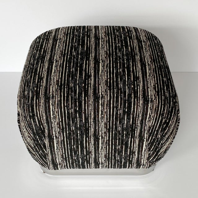 Black Karl Springer Style Chrome Souffle Pouf Ottomans - a Pair For Sale - Image 8 of 13