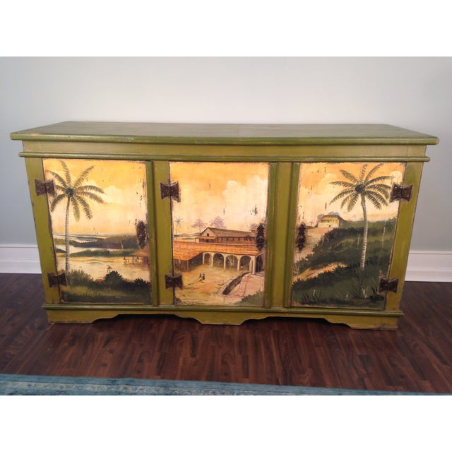 Artiero Brazil Tropical Palm Tree Hand-Painted Credenza Cabinet - Image 4 of 10
