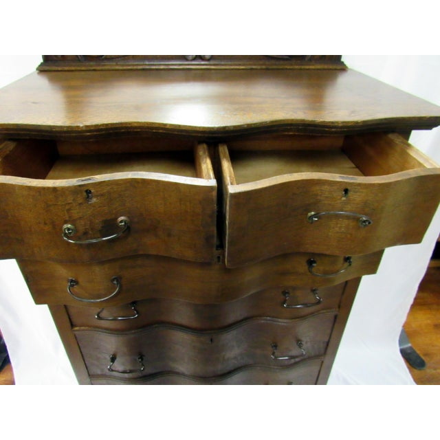 1900s Traditional Oak Highboy Dresser With Mirror For Sale - Image 9 of 12