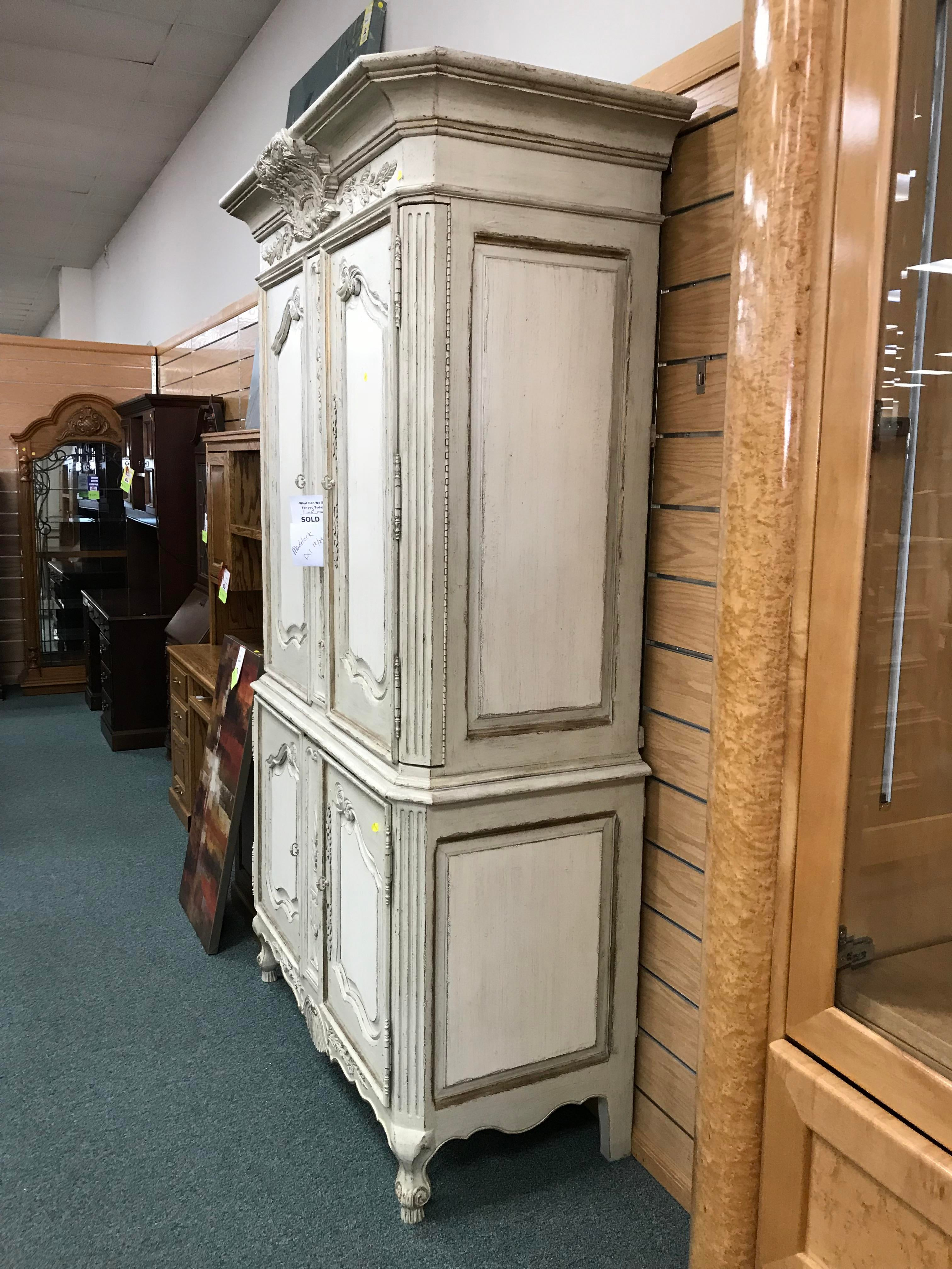 Drexel Heritage Belle Maison Distressed White Country French Armoire    Image 3 Of 8