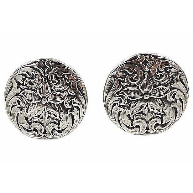 Mid-Century Modern 1960s Napier Silvertone Floral Earrings For Sale - Image 3 of 5