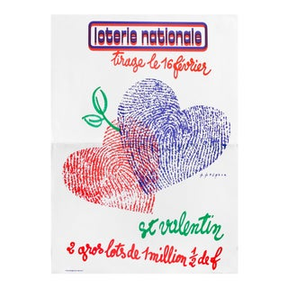 1970s French Loterie Nationale Poster, Ste. Valentine For Sale
