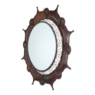 Brutalist Handcrafted Round Outdoor Wall Mirror For Sale