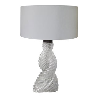 Paolo Venini Art Deco Swirled Glass Table Lamp For Sale