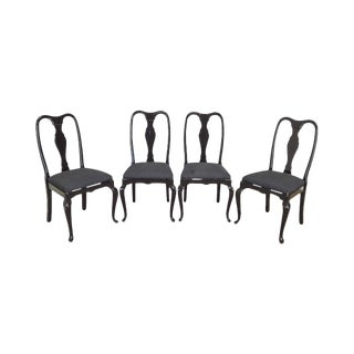 Black Lacquer Set of 4 Queen Anne Dining Chairs For Sale