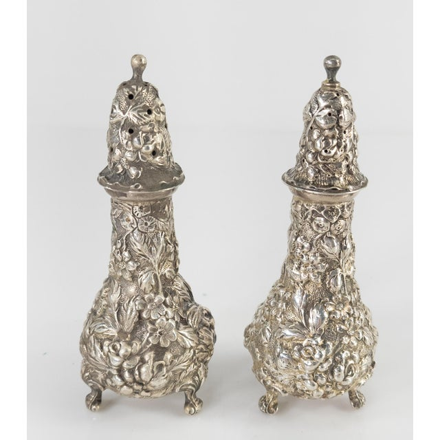 Metal Early 20th Century Floral Sterling Silver Stieff Salt and Pepper Shakers For Sale - Image 7 of 7