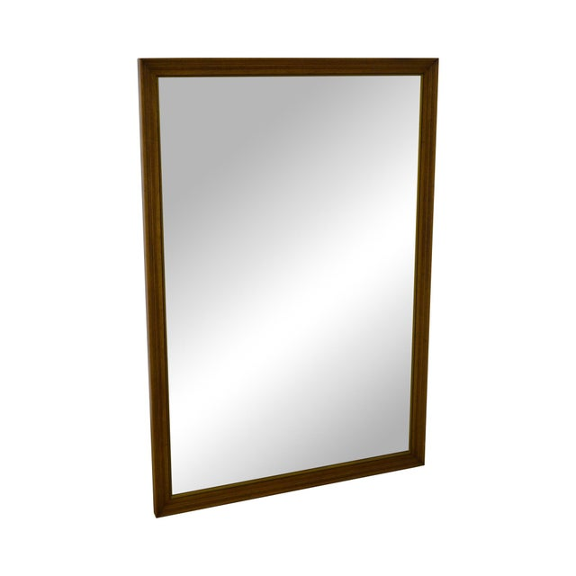 Henredon Vintage Walnut Frame Rectangular Wall Mirror For Sale - Image 11 of 11