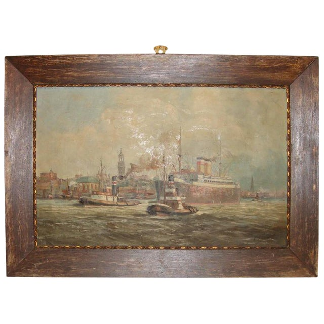 19th C. Oil Painting of Boats in a Harbor For Sale