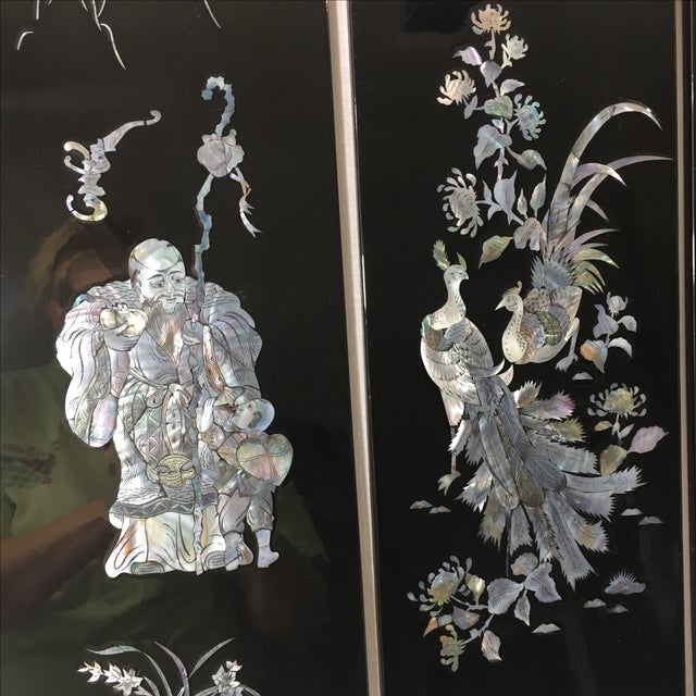 Wall Art Ideas Glamorous Mother Of Pearl Wall Art: Japanese Black Lacquer Wall Art - 4 Panels