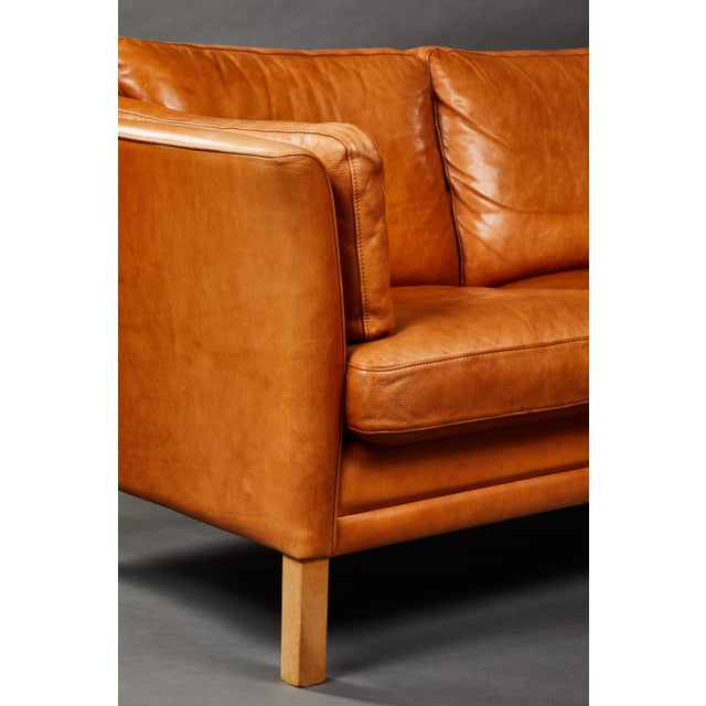 A Handsome Leather Scandinavian Sofa For Sale - Image 4 of 6