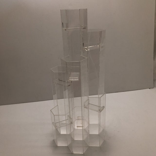 Transparent Mid Century Van Horn Hayward Lucite Skyscraper Sculptural Candleholder For Sale - Image 8 of 9