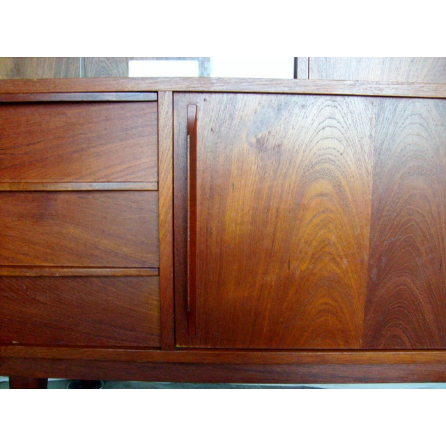7 Ft. Mid-Century Danish Modern Teak Credenza Dry Bar Hutch For Sale - Image 11 of 12