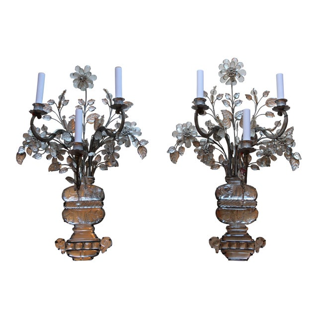 C1845 Maison Bagues Museum Quality Huge Crystal Floral Sconces/ Wall Lamps-Signed in Bronze - a Pair For Sale