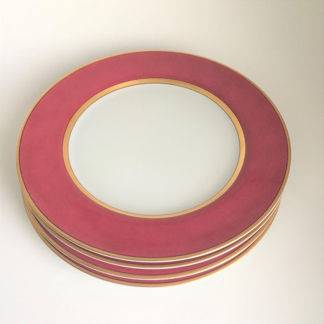 """Set of 4 Fitz and Floyd """"Renaissance"""" pattern dinner plates in rare Magenta color, dated 1978. Very good condition with..."""