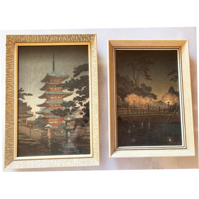 Japanese Woodblock Framed Reproduction Prints - a Pair For Sale - Image 13 of 13