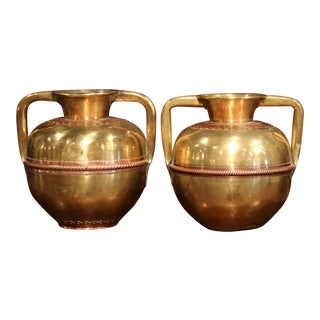 Pair of 19th Century French Copper and Brass Vases With Handles From Normandy For Sale