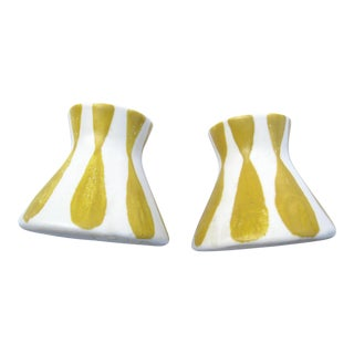 Vintage Frank Mann Art Pottery Yellow Stripe Candle Holders - A Pair For Sale