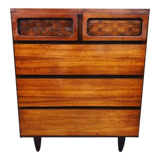 1960s Mid Century Modern Harmony House Walnut Chest Dresser For Sale