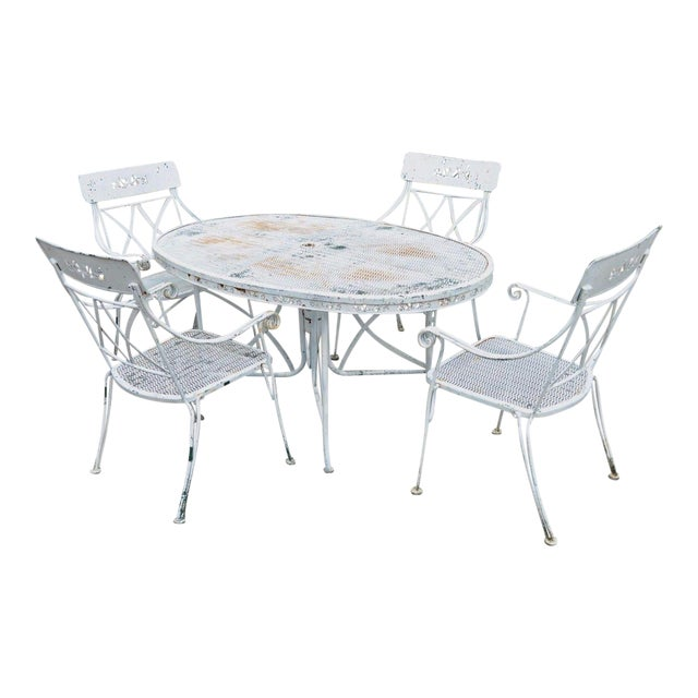 Vintage Hollywood Regency Wrought Iron Dining Set Chairs Table Salterini Style For Sale