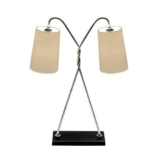 Florentine Antique Silver Leaf Table Lamp With Shade For Sale