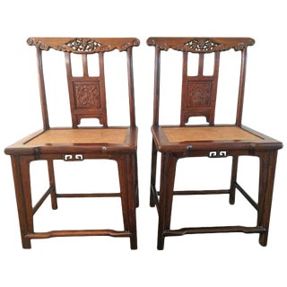 19th Century Chinese Rose Wood Side Chairs- A Pair For Sale