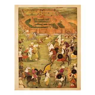 Rare 1950 Said Khan, Taking of a Town, Original Gold-Leafed Parisian Lithograph For Sale