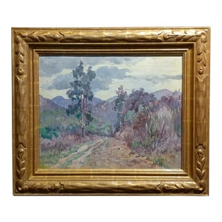 Charles Fries Eucalyptus & Mountains Near Mussey Grade Oil Painting, 1930 For Sale